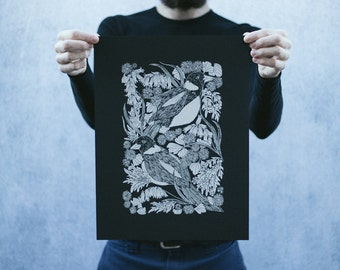 Magpie and Bontanicals Open Edition Black and White Screen Printed Poster