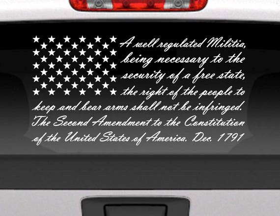 Second Amendment American Flag Vinyl Window Decal For Cars