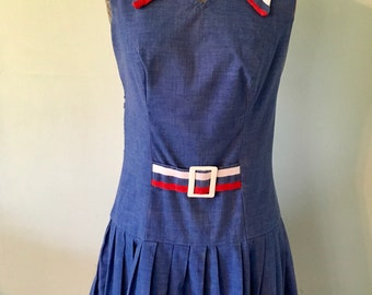 Red White and Blue Sleeveless Dress/Vintage Dress/1970s Dress
