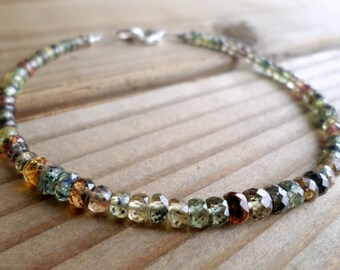 Multi Sapphire Bracelet and Sterling Silver, September Birthstone, Moss Sapphire Bracelet, Sapphire, Gifts for Her