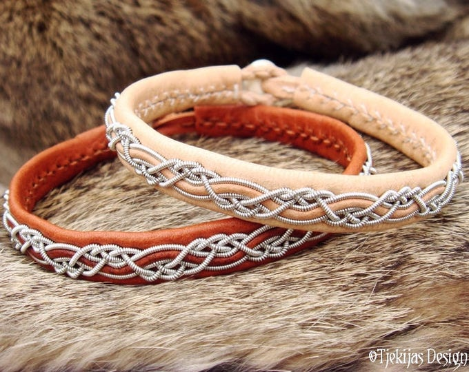 HUGINN Sami Bracelet Cuff   Lapland Viking Bracelet in Natural Leather decorated with Pewter Braid   Unisex Custom Handmade Norse Jewelry