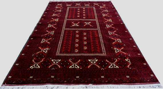8'1 X 5'2 Ft Free Shipping!  High Quality Hand Knotted Afghan Turkoman Parda Rug,Silk Like Soft Wool Rug, Hand Knotted Area Rug by Etsy