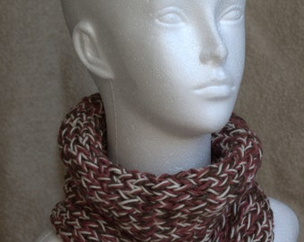 Cream/brown/red hand knitted neck warmer/cowl in acrylic/wool/cotton/linen