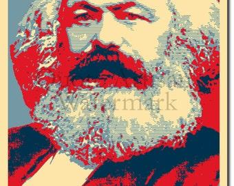 Karl Marx Original Art Print - 12x8 Inch Photo Poster Gift - Barack Obama Hope Parody - Marxism Socialism Communism