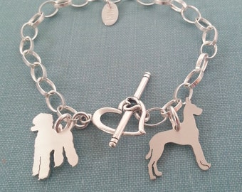 2 Dog Breed Chain Bracelet, 925 Sterling Silver, Personalize Silhouette Charm, Rescue Shelter, Dog Lover Gift