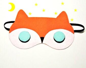 Sleep mask Fox felt orange white animal Pajamas Spa night birthday sleep party favors soft eye sleeping accessory Gift for girl kids her him