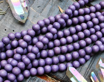 wood beads, 8mm beads, round beads, rustic purple, natural purple, boho beads, 8mm wood beads, woodland beads,