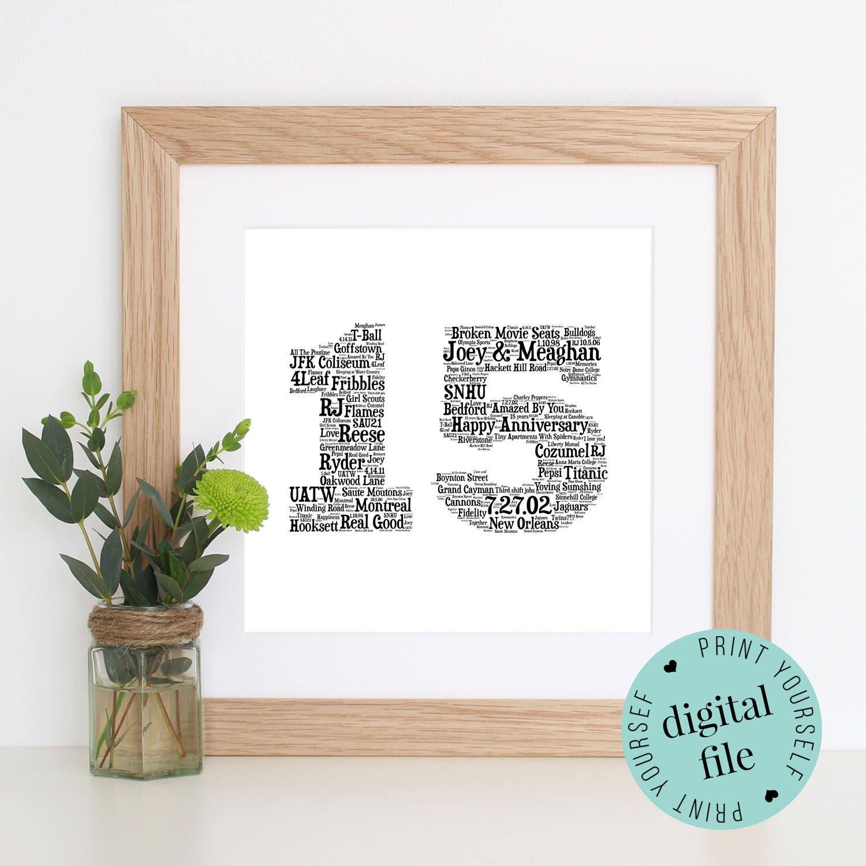 Personalised 15th ANNIVERSARY GIFT Word Art Printable