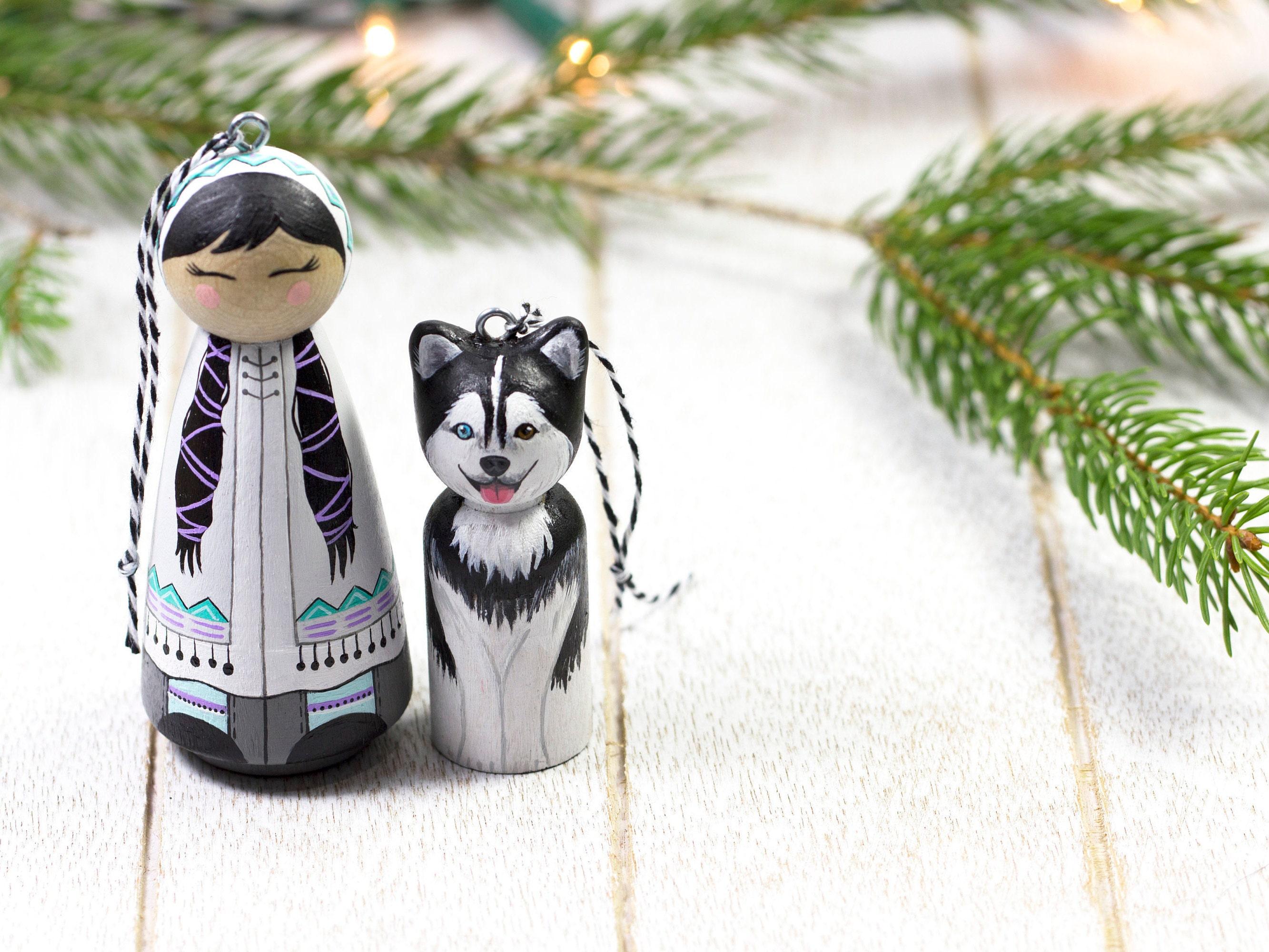 Eskimo Ornament Husky Ornament Holz Christmas Ornament