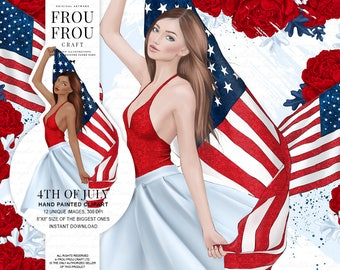 4th of July Clipart, Independence Day Clip Art, American Girl Fashion Illustration, USA Clipart, Patriotic Clipart, Fourth of July Wallpaper