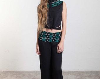 Pants - Wide leg pants -Gift for Her -Black pants - Bhoemian -Hippie- Embroidery - Gift -Harem Pants -Boho pants - Boho -Handmade -Boho chic