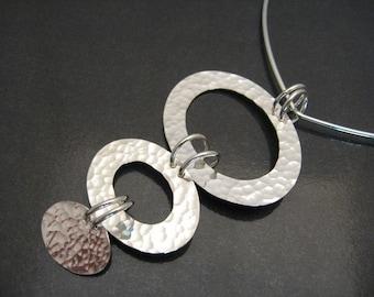 Hammered Oval Pendant - Handmade