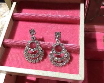 Rhinestone earrings , Vintage earrings , Wedding earrings , Sparkling earrings , beautiful earrings