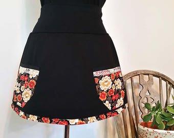 Womens Ooak Short Black Skirt Black Mini Skirt Flowers Skirt Aline Large Skirt Pockets Skirt Australian Made High Waisted Skirt Flare Skirt