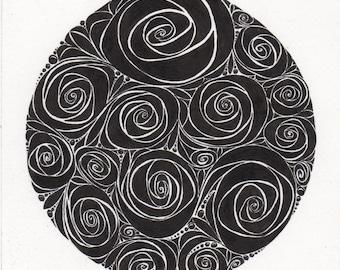 Original Black and White Rose Swirls