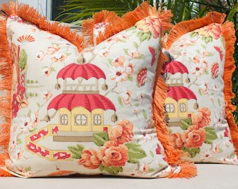 Chinoiserie Pillow Cover in Beige with Melon Bush Fringe.