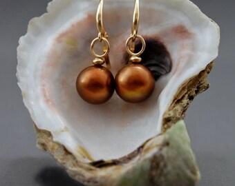 Naama - rare pearl earrings, dark caramel pearls, freshwater pearls, dangle earrings, leverback earrings, jewelry gift for her, accessories