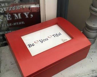 Red Jewelry Box Photo Top box painted wood box wooden jewelry box photo box painted trinket box red box wood jewelry box red trinket box