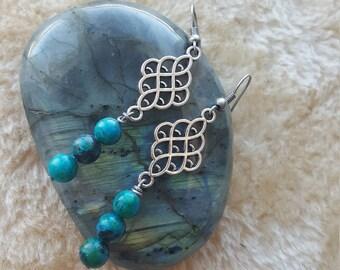 Dyed Aqua Beaded Earrings