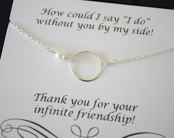 10 Bridesmaid Necklace Karma, Bridesmaid Gift, Thank You Card, White Pearl, Sterling Silver Necklace Karma, Mother of the Bride, Infinity