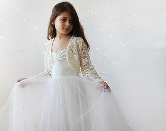 Lace long sleeves flower girl bolero,  Lace jacket for Flower girls 5038
