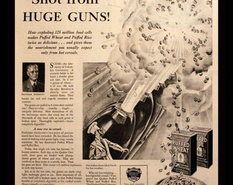 """1930 Quaker Cereal Ad with Puffed Rice & Puffed Wheat - Wall Art - Decor - Kitchen - """"Shot From Huge Guns"""" - Retro Vintage Food Advertising"""