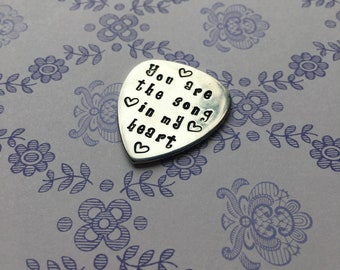 Personalised guitar pick, personalised plectrum, gift for guitar player, guitar themed gift, you rock my world, i pick you