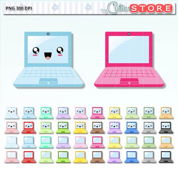Kawaii Laptop Clipart Computer design clip art graphics set
