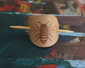 Leather & Wood Hair Band with Burned Bee Design
