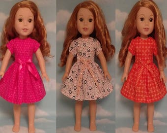 "Dress Fits AG Wellie Wishers, Girl Doll clothes, American Made handmade 14.5"" doll Clothing (Dress choose an option) d-210wabc"