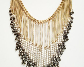 Old Gold, Silver and Dark Gray  Cascade Necklace / Gold, Silver and Dark Gray Cascade Bib Necklace.