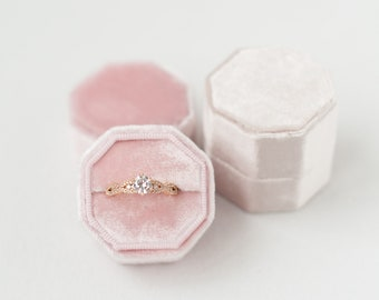 Ring Box - Velvet Ring Box - Vintage - Proposal Ring Box - Engagement ring box - Personalized Gift - Free Monogram - Octagon - Cloud Pink