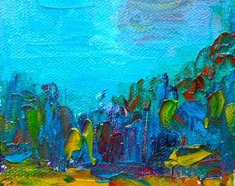 Mini Original Oil Landscape Painting: Morning Forrest