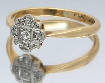 Vintage Art Deco Style Diamond Cluster / Engagement Ring, 18ct Gold & Platinum Ring | Size UK P 1/2 / USA 8 | Free Worldwide Shipping