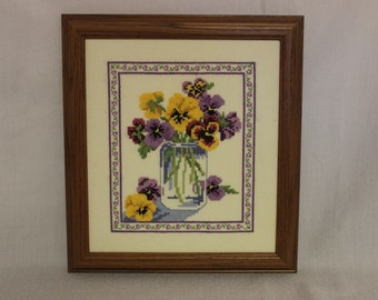 Framed Finished Cross Stitch-Pansies for Friendship