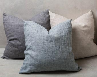 Linen pillowcase-Linen pilow cover -Decorative pillow-Stonewashed pillowcase-Lumbar pillow covers.