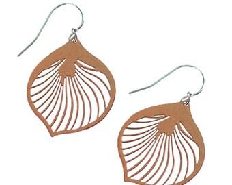Enameled Ginkgo Leaf Earrings in Brown