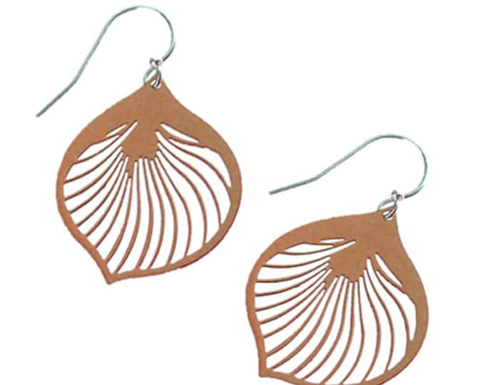 Enameled Ginkgo Leaf Earrings in Brown