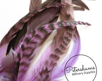 Full Coque Chinchilla Feathers for Millinery and Hat Trimming - Purple