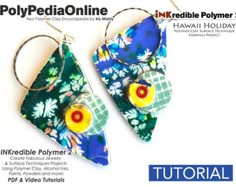 Polymer Clay Tutorial, Polymer Clay Jewelry, PDF Tutorial, DIY Handmade Bead, Jewelry Tutorial, Polymer Clay Pattern, Alcohol Ink, Video