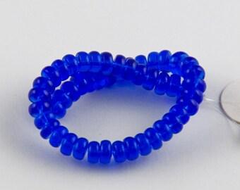 3x5mm Transparent Cobalt Blue Czech Glass Saucer Beads - 5 inch strand - 48 pieces
