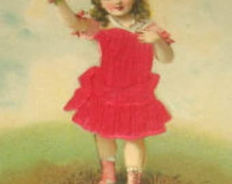 SALE Vintage Embossed Silk Postcard (Little Girl)
