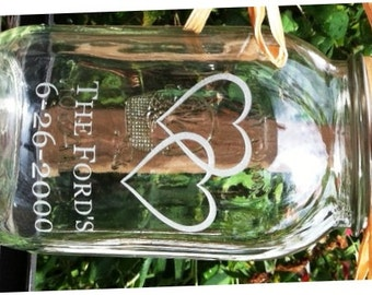 Personalized Sand Ceremony Mason Jar Single 1 Quart Jar