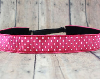 No Slip Headband. Solid Workout Headband. Yoga Headband. Adjustable Headband. Running Headband II hot pink dots