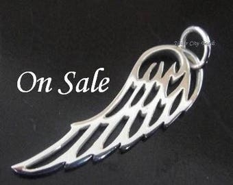 Sterling Silver Angel Wing Charm, 10 pcs- 27 x 8mm