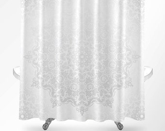Mandala Shower Curtain, Shower Curtain Boho, White Shower Curtain, Modern Shower  Curtain,