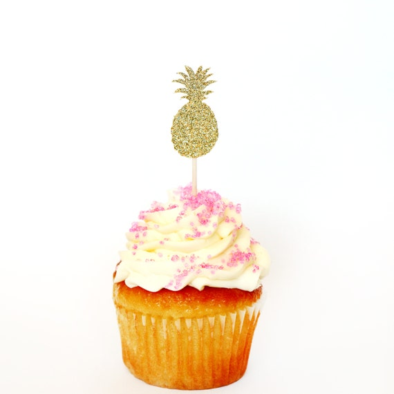 Pineapple Cupcake Toppers - Glitter - Bachelorette Party. Engagement Party Decor. Baking Tools. Party Supplies. Party Decor. Paper.