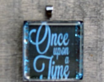 ONCE UPON a TIME Necklace White Jewelry Gift for Her Printed on Recycled Paper Under A Glass Shield