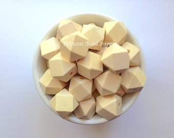 20mm Natural Wood Hexagon Teething Beads,  Wood Hexagon Beads, Natural Unfinished Wood Teething Beads,  Natural Wooden Beads