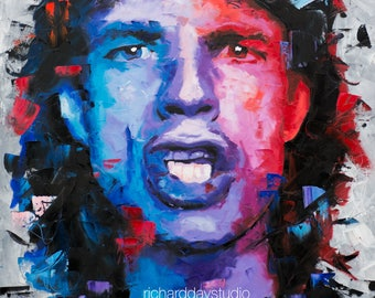 "Mick Jagger (The Rolling Stones), Original Painting, 30"",40"", 52"", Art, Portrait, Gift, POP Art, Worldwide Shipping, Richard Day"